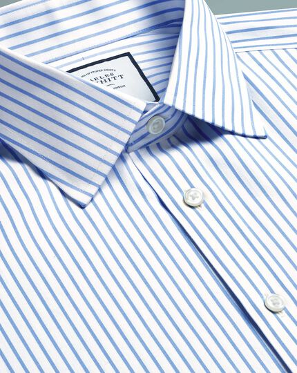 Bügelfreies Extra Slim Fit Twill-Hemd mit Streifen in Himmelblau