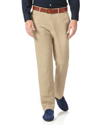 Stone classic fit cotton linen trousers