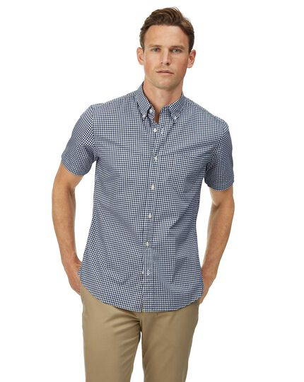 Slim fit navy short sleeve gingham soft washed non-iron stretch poplin shirt