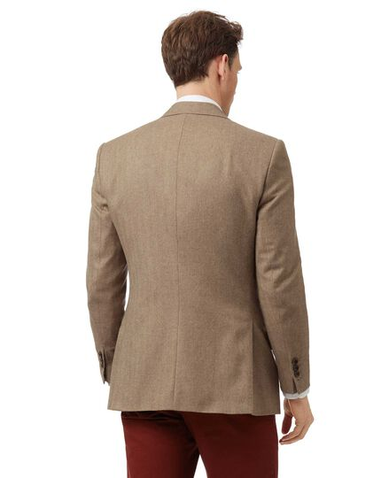 Classic fit tan herringbone British wool and cashmere jacket