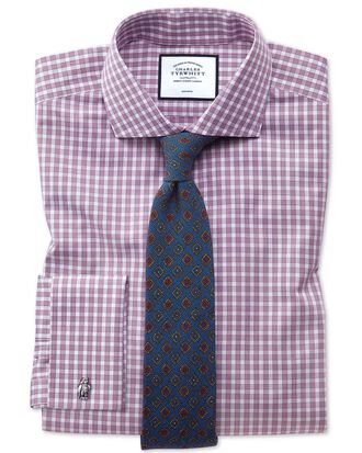 Extra slim fit non-iron twill gingham berry shirt