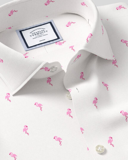 Chemise à col business casual et imprimé flamants roses sans repassage - Rose