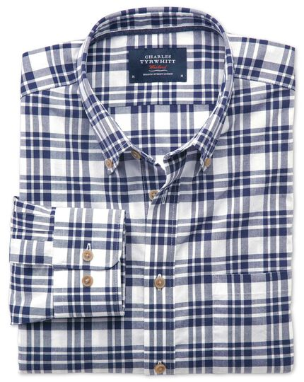 Classic fit button-down poplin navy blue check shirt