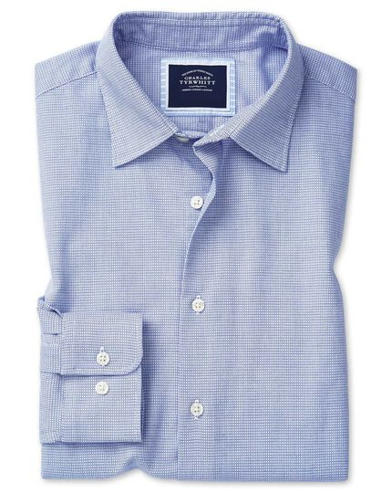 Slim fit soft washed textured grid check sky blue shirt