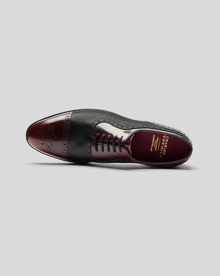 Made in England Oxford Brogue Flex Sole Shoe  - Black & Burgundy