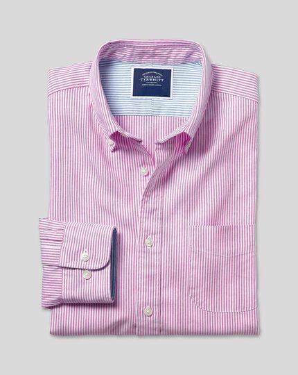 Vorgewaschenes Oxfordhemd mit Button-down-Kragen und Bengal-Streifen - Beerenrot&Weiß