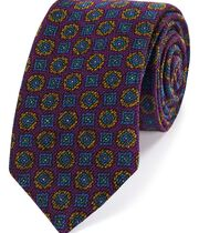 Purple wool geometric print Italian luxury tie