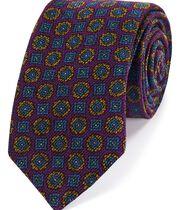 Cravate de luxe violette en laine italienne à imprimé géométrique