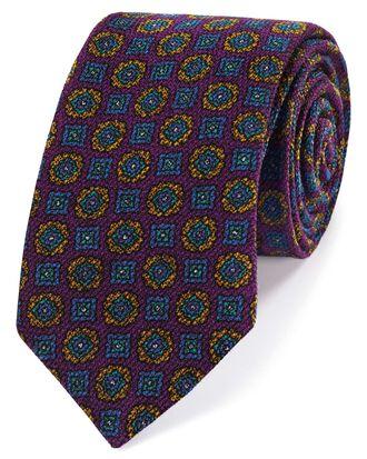 Italienische Luxuskrawatte aus Wolle mit geometrischem Muster in Violett