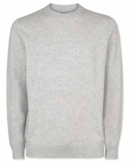 Pull à col rond en laine mérinos et cachemire gris argent
