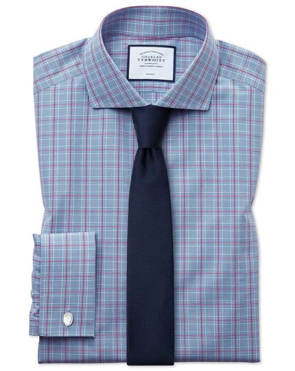 Non-Iron Spread Prince Of Wales Check Shirt - Blue And Purple