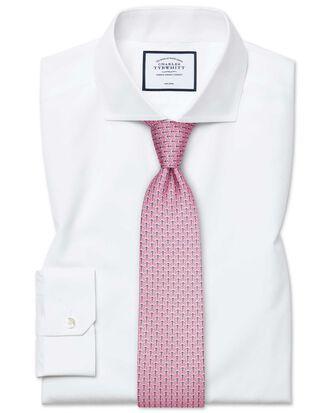 Super slim fit cutaway non-iron poplin white shirt