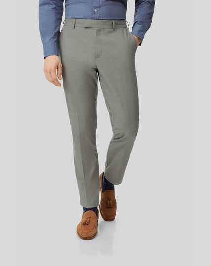 Non-Iron Stretch Trousers - Green