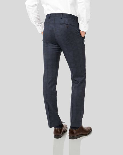 Italian Luxury Twill Check Suit Trousers - Blue