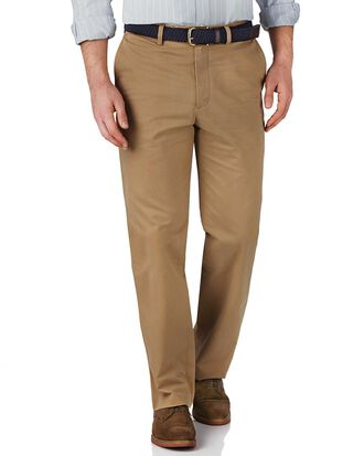 Tan classic fit flat front weekend chinos