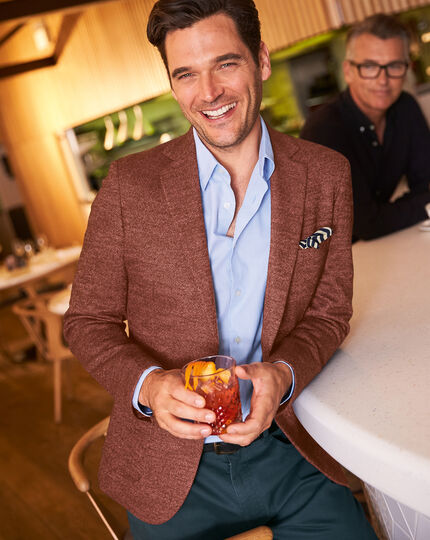 Slim fit British wool with cashmere jacket in red