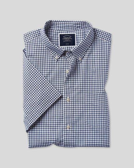 Button-Down Collar Non-Iron Stretch Poplin Gingham Short Sleeve Shirt - Navy