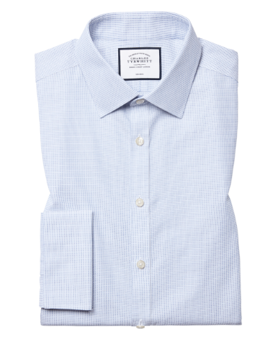 Super slim fit non-iron dash weave blue shirt