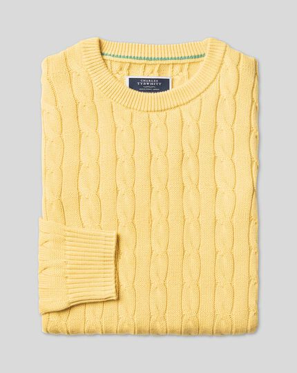 Pima Cotton Cable Sweater - Yellow