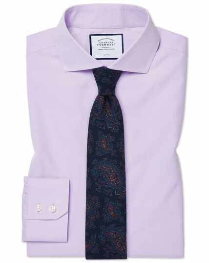 Slim fit non-iron spread collar poplin lilac shirt