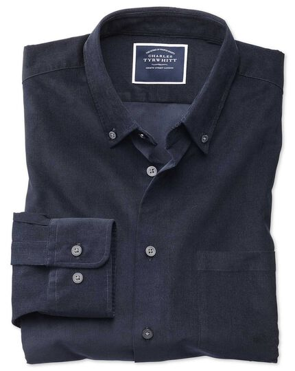 Classic fit plain navy fine corduroy shirt