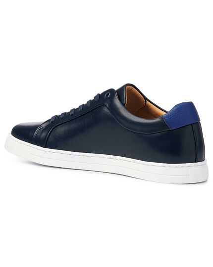 Navy leather trainers