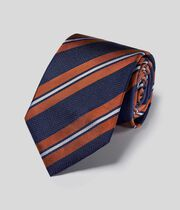 Silk Double Stripe Classic Tie - Navy & Orange