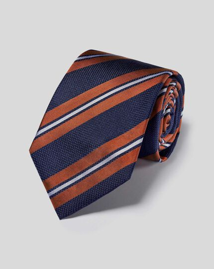 Silk Double Stripe Tie - Navy & Orange