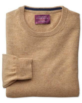 Tan cashmere crew neck jumper