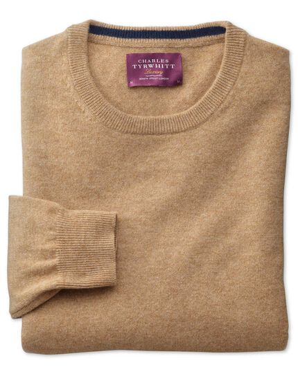 Tan cashmere crew neck sweater