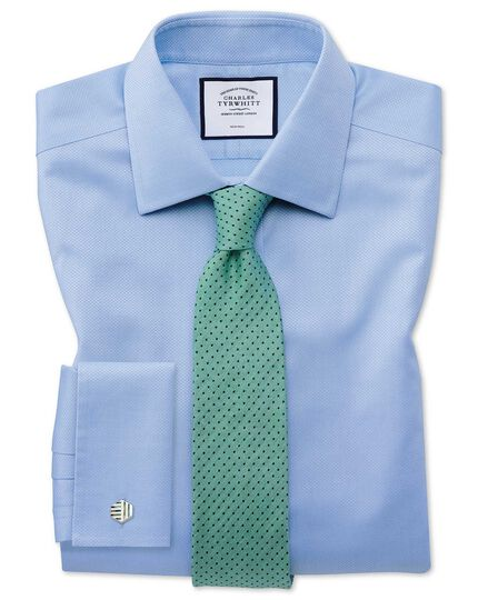 Extra slim fit non-iron sky blue triangle weave shirt