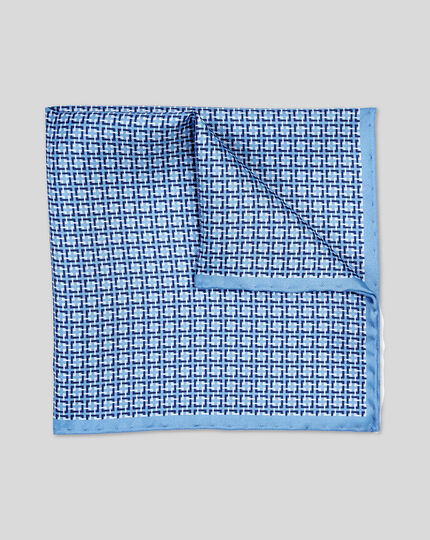 Geometric Print Pocket Square - Sky