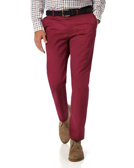 Red slim fit flat front washed chinos