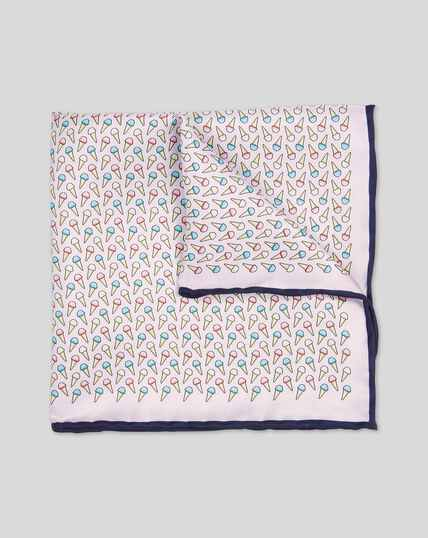 Ice Cream Print Pocket Square - Light Pink