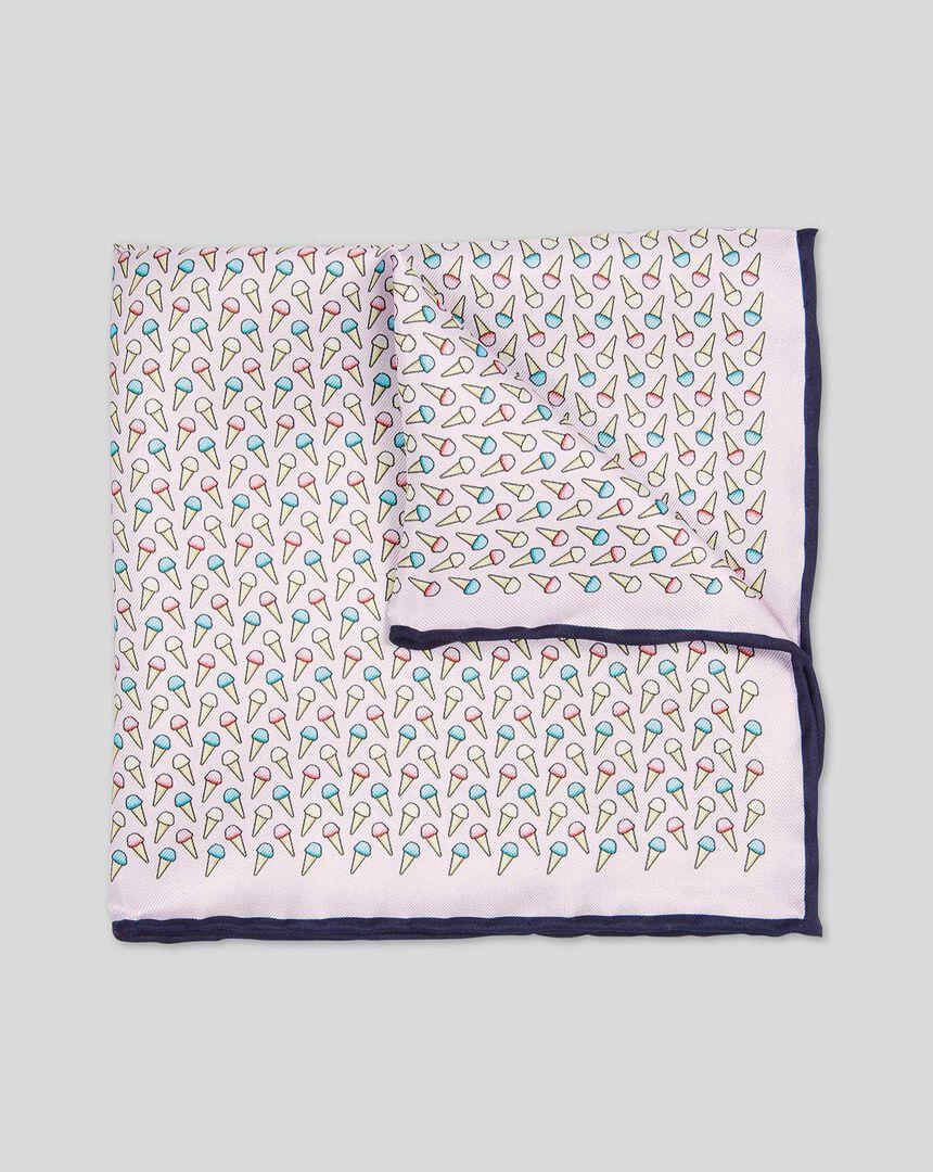 Ice Cream Print Pocket Square - Light Pink