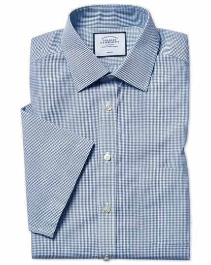 Slim fit non-iron Tyrwhitt Cool poplin check short sleeve blue shirt