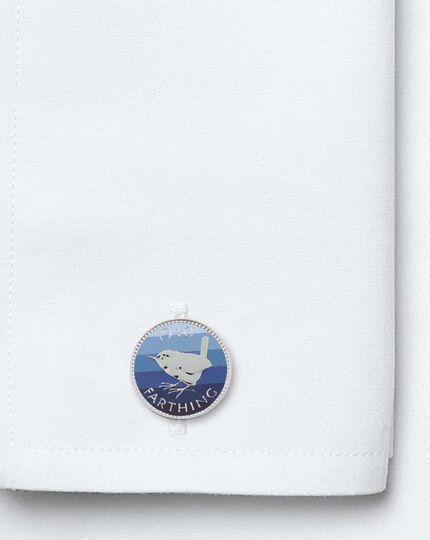 Blue printed striped farthing coin cufflinks