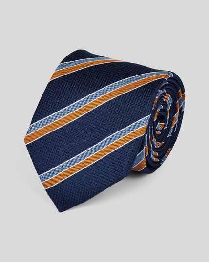 Cravate classique en soie à rayures club - Bleu marine et orange