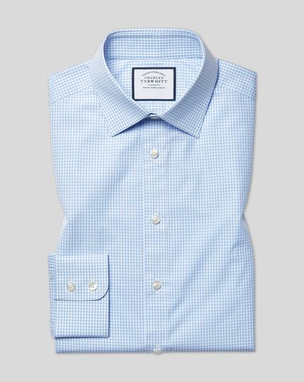 Classic Collar Gingham Shirt - Sky