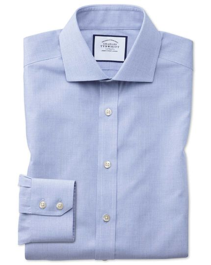 Extra slim fit non-iron cutaway collar sky blue puppytooth shirt