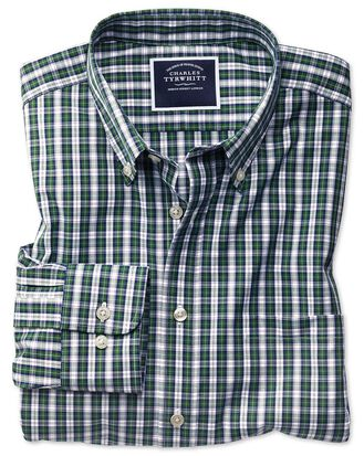 Classic fit non-iron green and navy plaid shirt