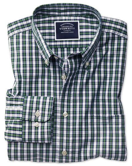 Classic fit non-iron green and navy tartan check shirt