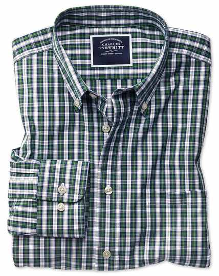 Slim fit non-iron green and navy plaid shirt