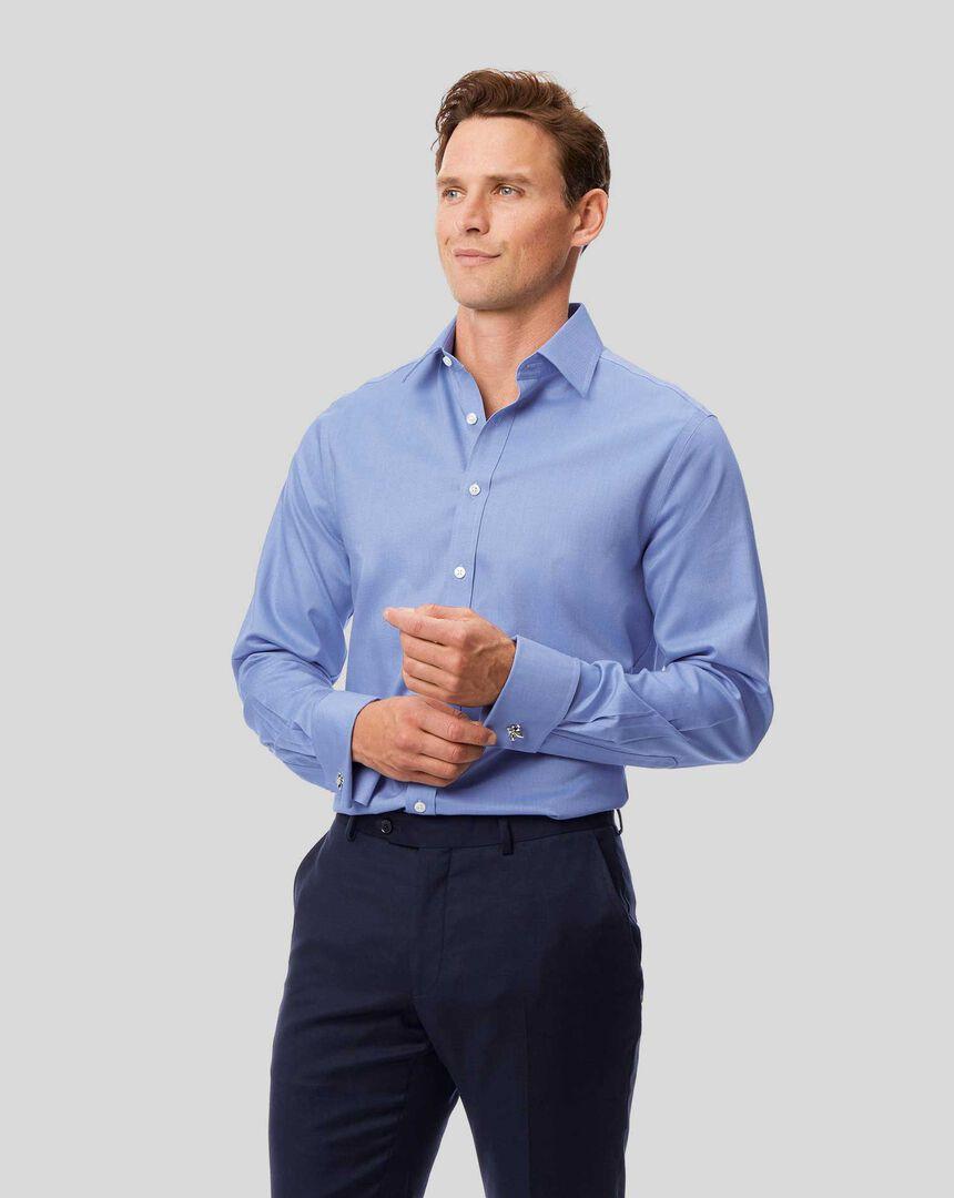 Bügelfreies Royal-Oxford Hemd mit Kent-Kragen - Blau