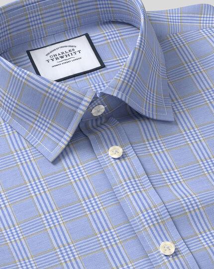 Chemise Prince de Galles à col classique sans repassage - Bleu et or
