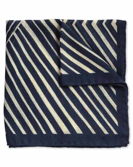 Navy and white abstract luxury Italian stripe print pocket square