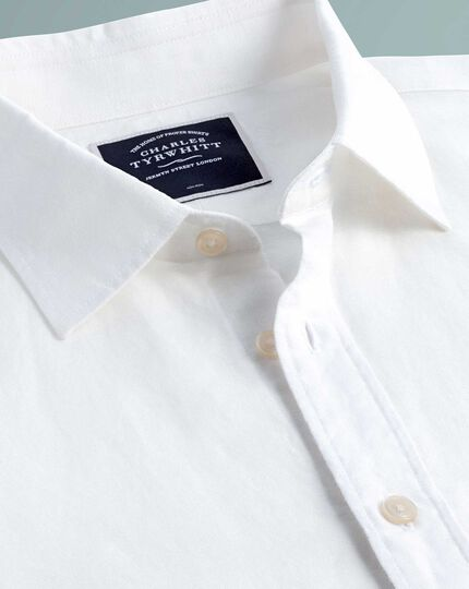 Extra slim fit business casual non-iron cotton linen white shirt