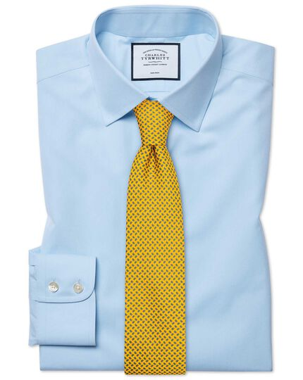 Classic fit sky blue non-iron poplin shirt