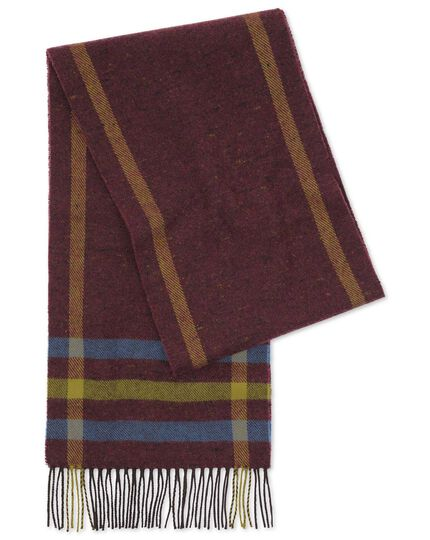 Burgundy donegal lambswool scarf