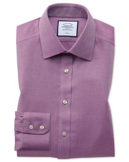 Bügelfreies Slim Fit Arrowweave-Hemd in Beerenrot